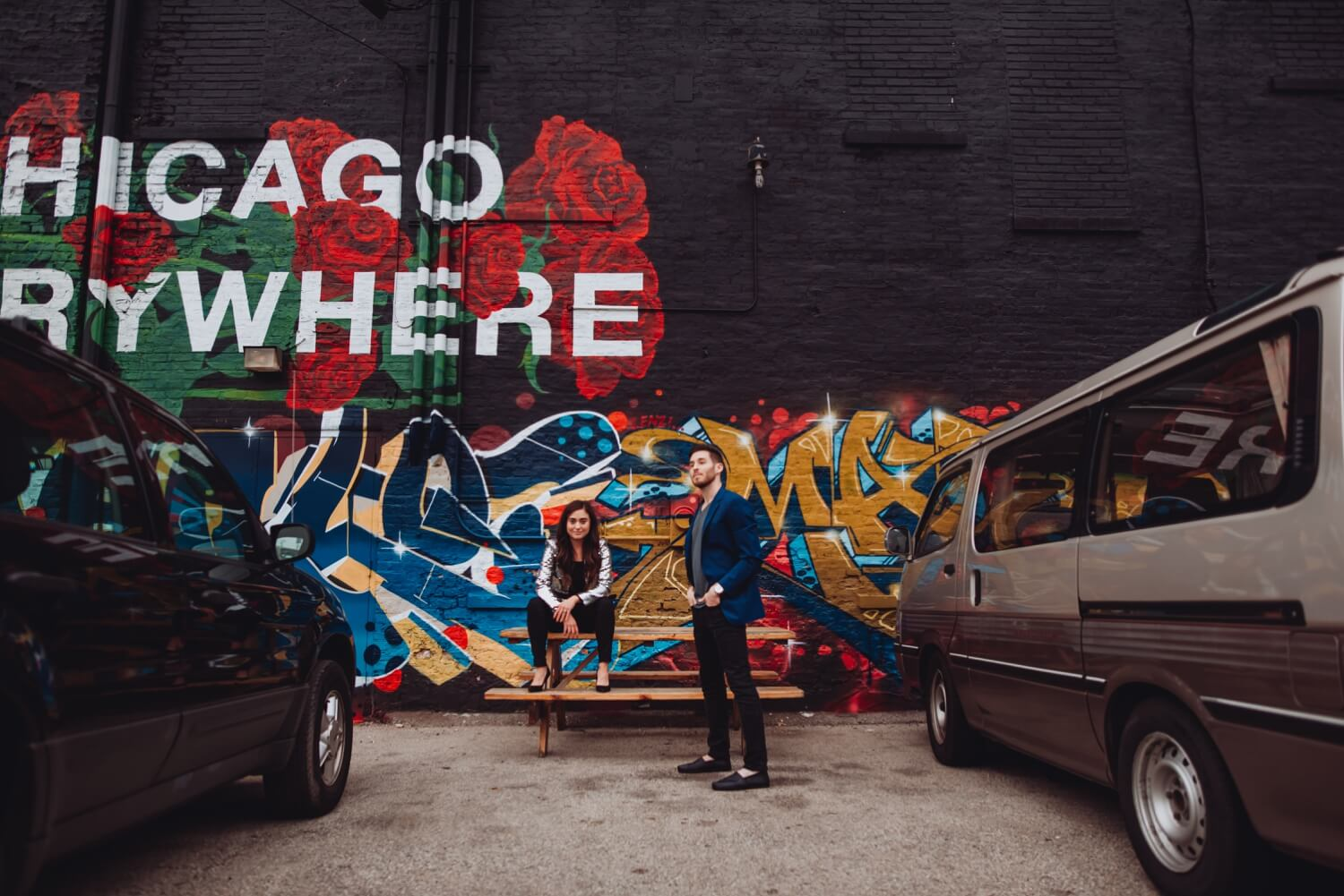 Wicker Park Engagement Photographer - The Adamkovi, chicago everywhere graffiti wall, epic photo