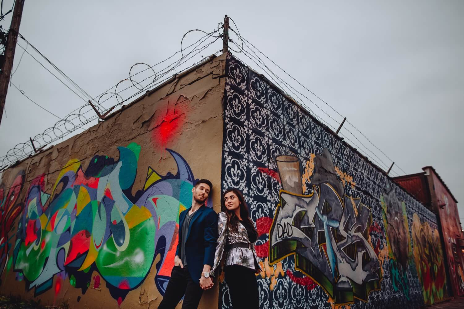 Wicker Park Engagement Photographer - The Adamkovi, graffiti chicago wall