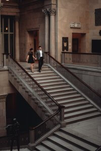 Art Institute of Chicago Engagement Photography Session, the grand staircase, The Adamkovi