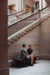 Art Institute of Chicago Engagement Photography Session, under the grand staircase, The Adamkovi