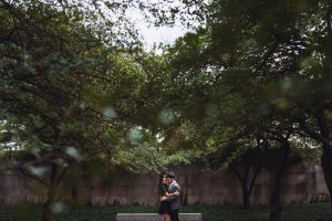 Art Institute of Chicago Engagement Photography Session, the South Garden, trees, The Adamkovi