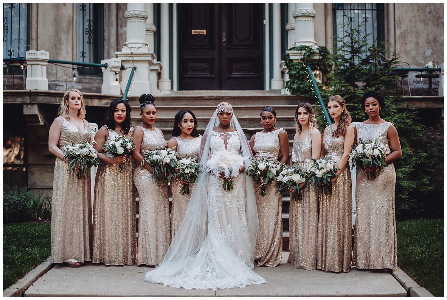 Keith House Chicago Wedding, The Adamkovi, bridesmaids and bride group photo