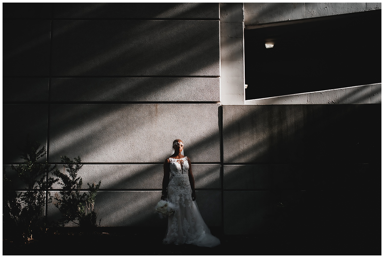 Keith House Chicago Wedding, The Adamkovi, vanity fair bride portrait in harsh light