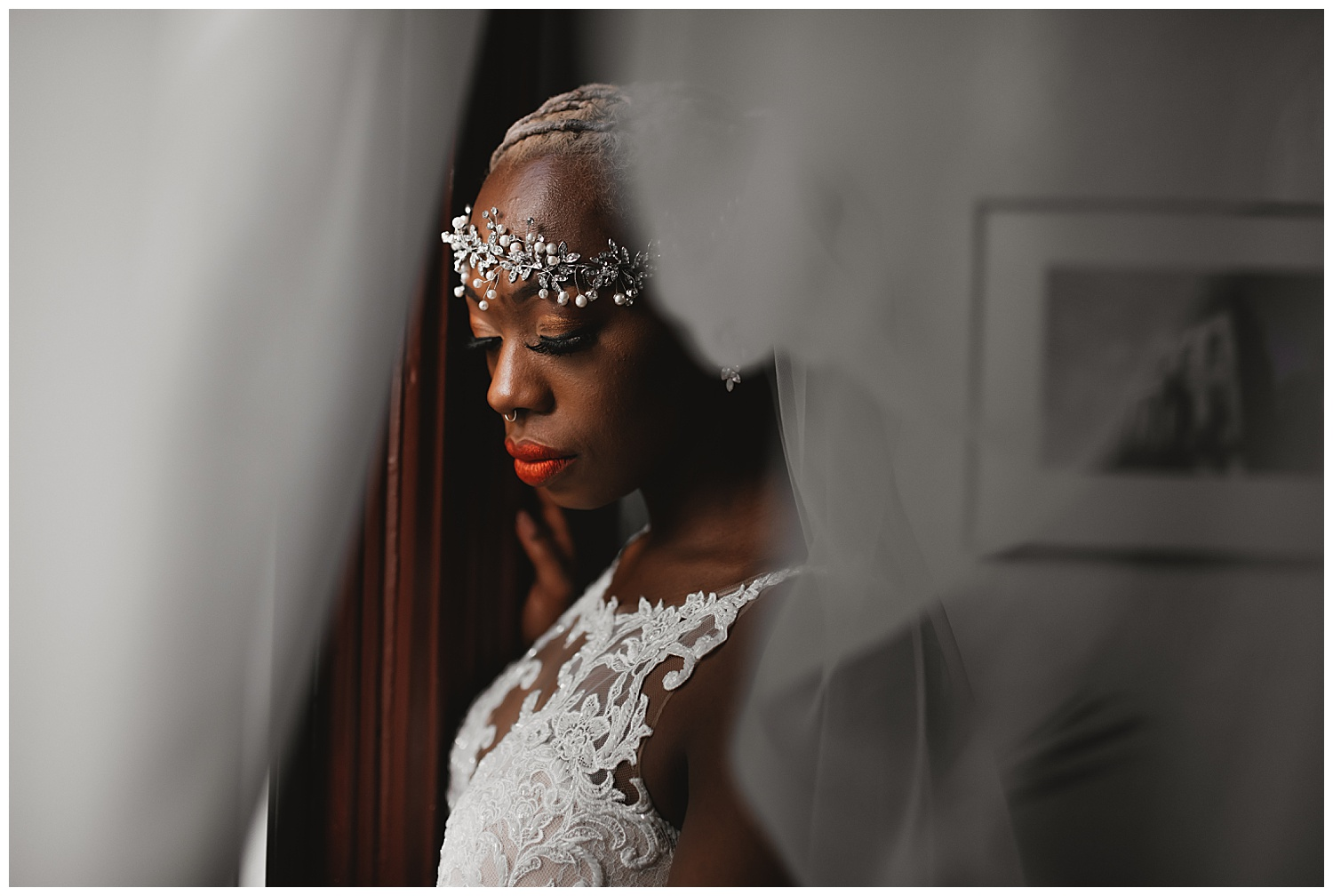 Keith House Chicago Wedding, The Adamkovi, bride looking out of the window