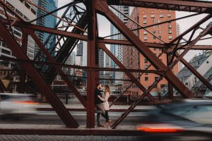 Kinzie Street Bridge Engagement Photography Session, chicago, cars, in the middle of traffic, creative The Adamkovi