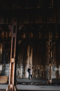 Kinzie Street Bridge Engagement Photography Session, chicago, under the metra railroad tracks, grungy, creative The Adamkovi