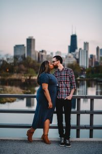 Lincoln Park Engagement Photography Session, bridge over south pond, nature boardwalk, skyline, The Adamkovi