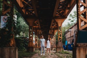 Logan Square, Wicker Park Engagement Photography Session, under the train track, under the L, Under the blue line, The Adamkovi