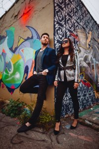 Logan Square, Wicker Park Engagement Photography Session, Graffiti wall, back alley, The Adamkovi