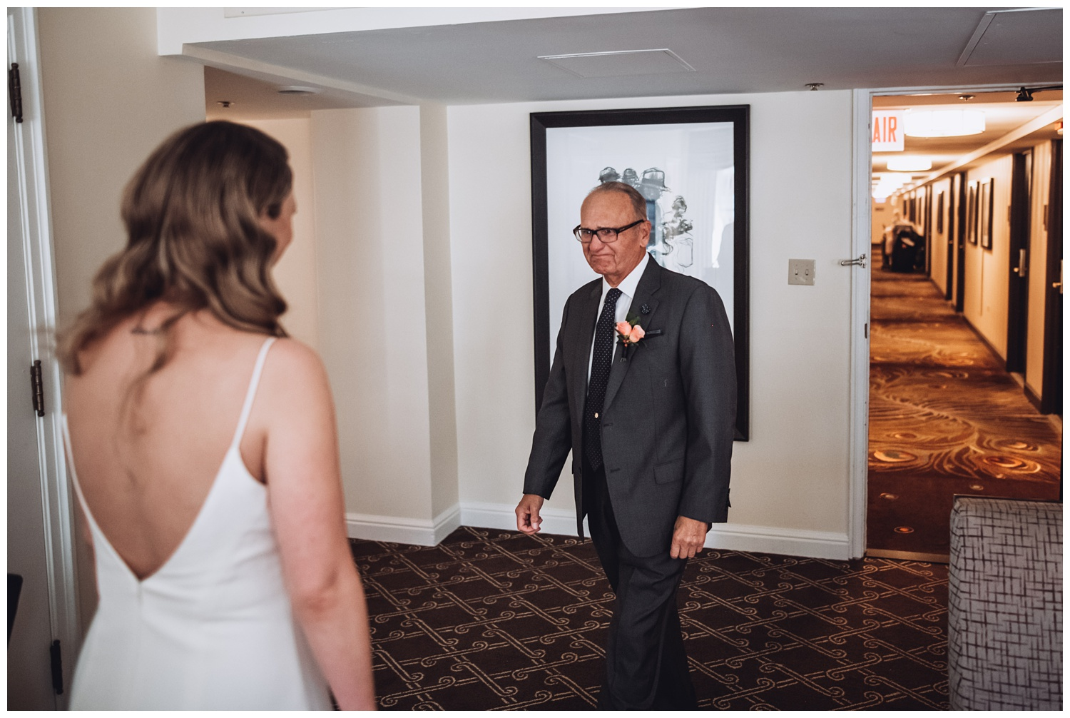 Palmer house Chicago Wedding Photographer - The Adamkovi, father of the bride, emotional first look