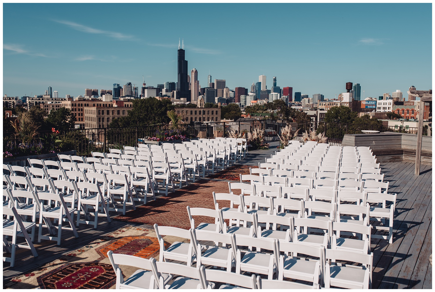 Lacuna Lofts Chicago Wedding Photography - The Adamkovi, rooftop ceremony space skyline view