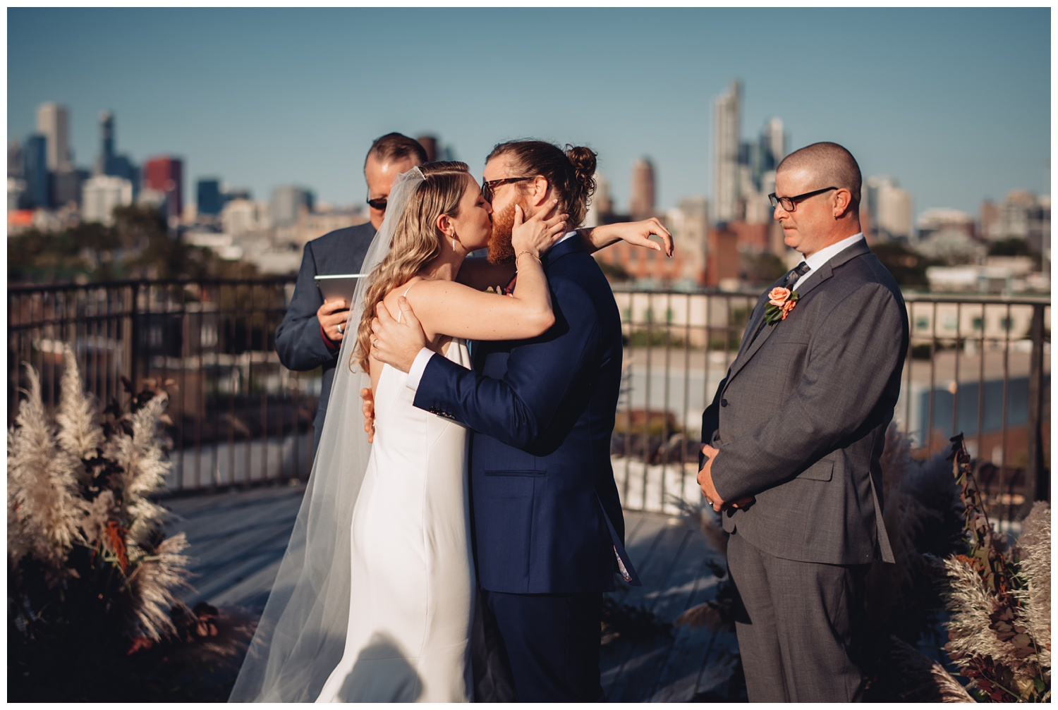 Lacuna Lofts Chicago Wedding Photography - The Adamkovi, rooftop ceremony, first kiss