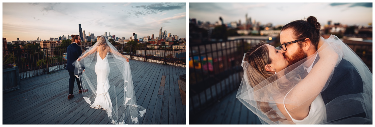 Lacuna Lofts Chicago Wedding Photography - The Adamkovi, rooftop epic, creative, bride and groom portraits