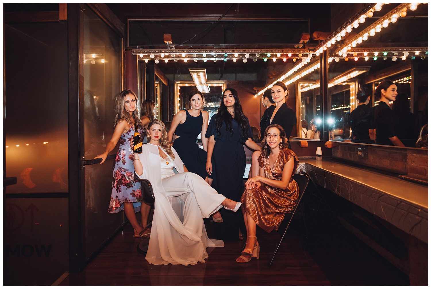 Lacuna Lofts Chicago Wedding Photography - The Adamkovi, bride with a cape photos vogue with her bridesmaids