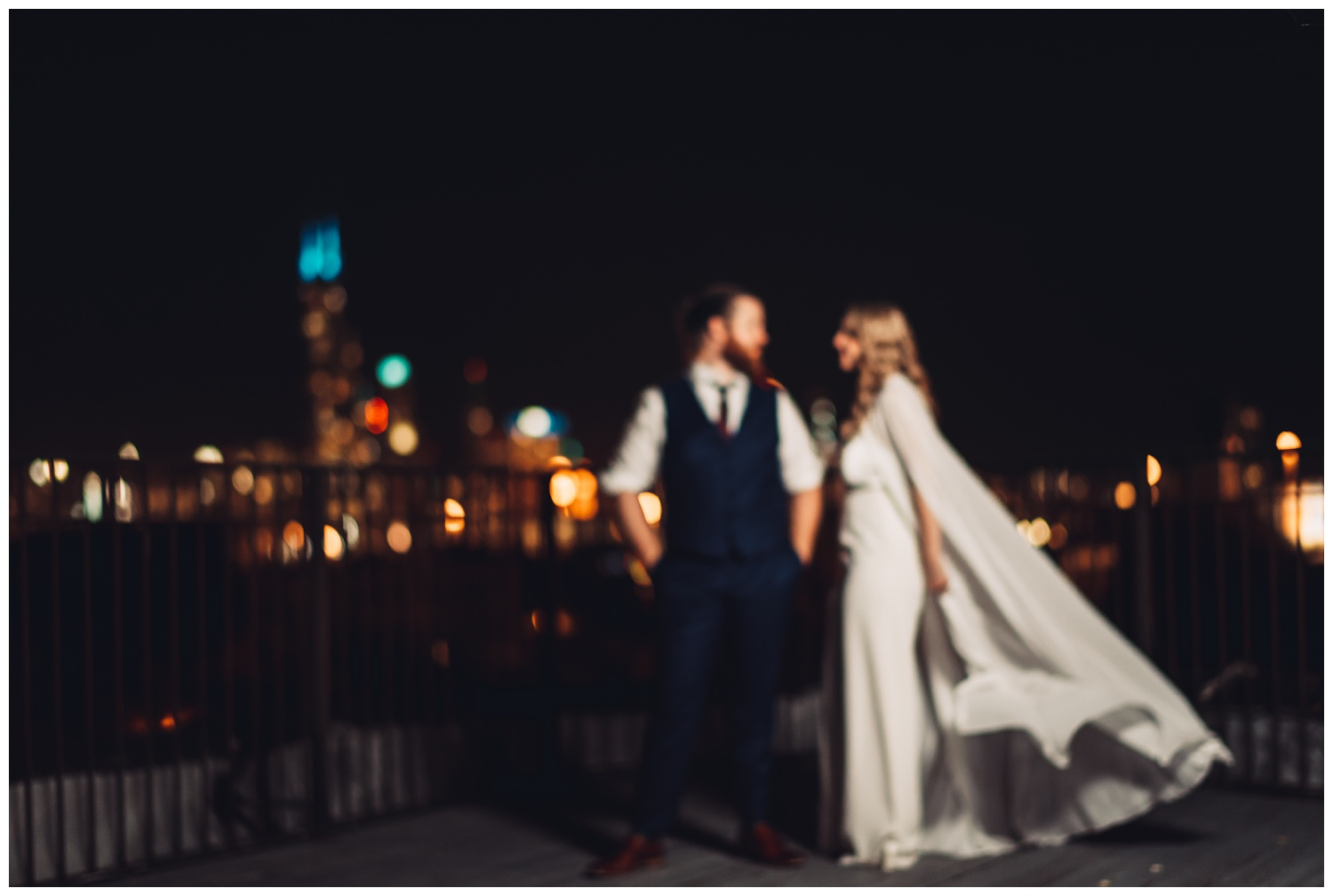 Lacuna Lofts Chicago Wedding Photography - The Adamkovi, bride with a cape, bride and groom night rooftop portraits