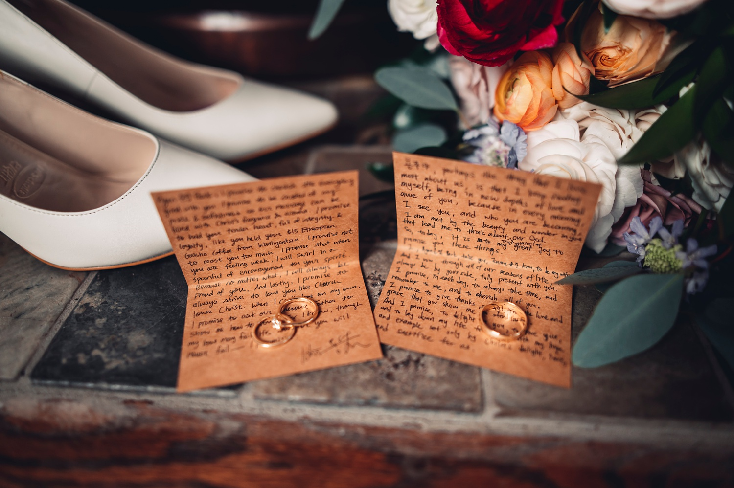 Firehouse Chicago Wedding - hand written vows and rings