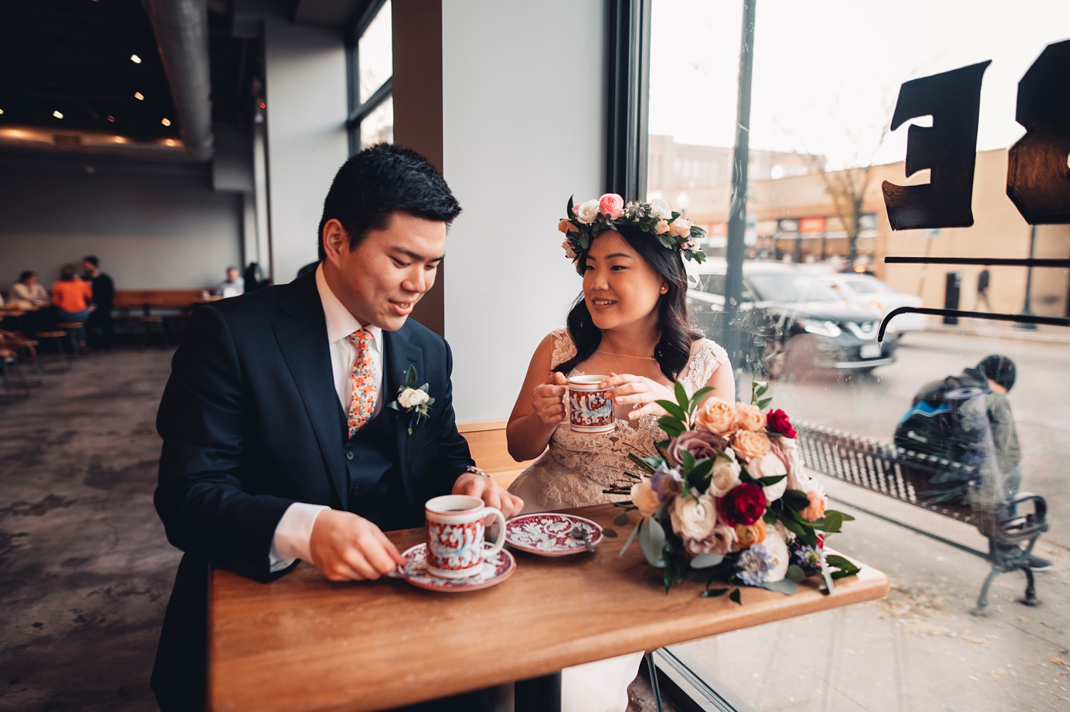 Firehouse Chicago Wedding - portraits bride and groom drinking coffee