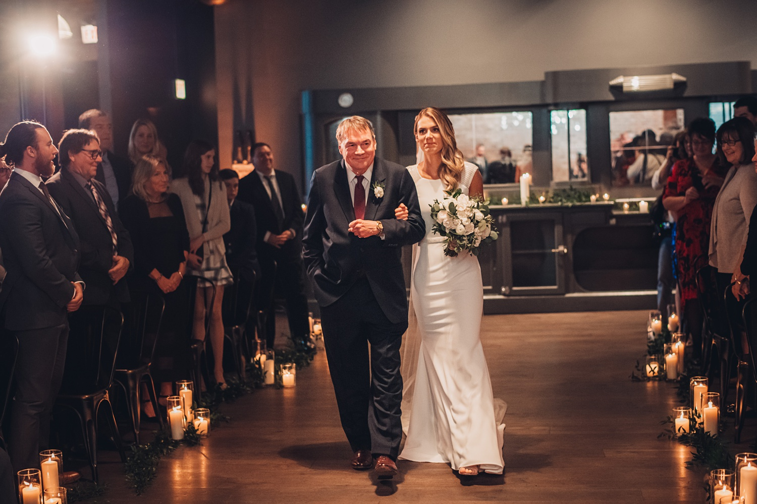 Artifact Events Fall Chicago Wedding - The Adamkovi bride walking down the isle