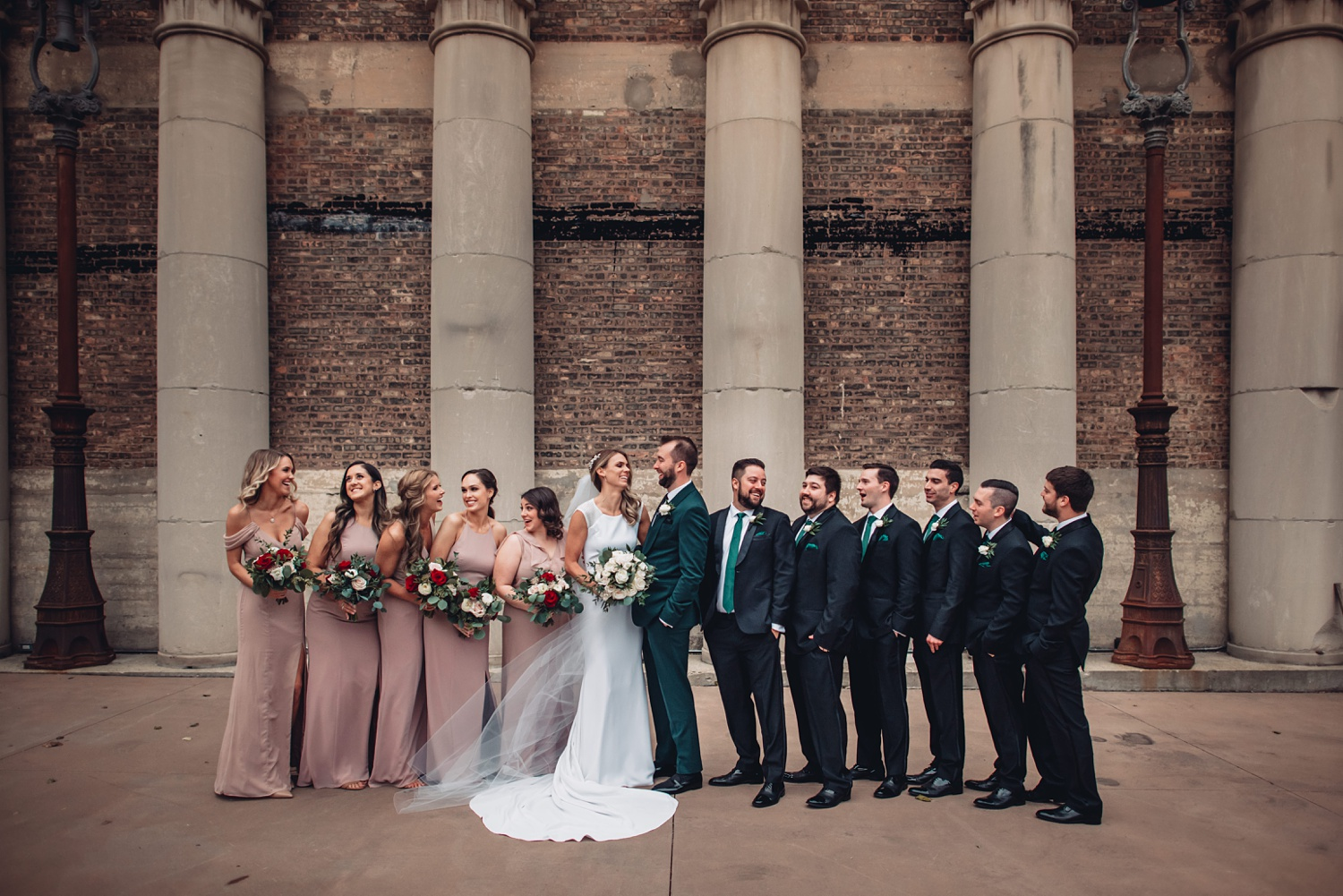 Artifact Events Fall Chicago Wedding - The Adamkovi wedding party. courtyard