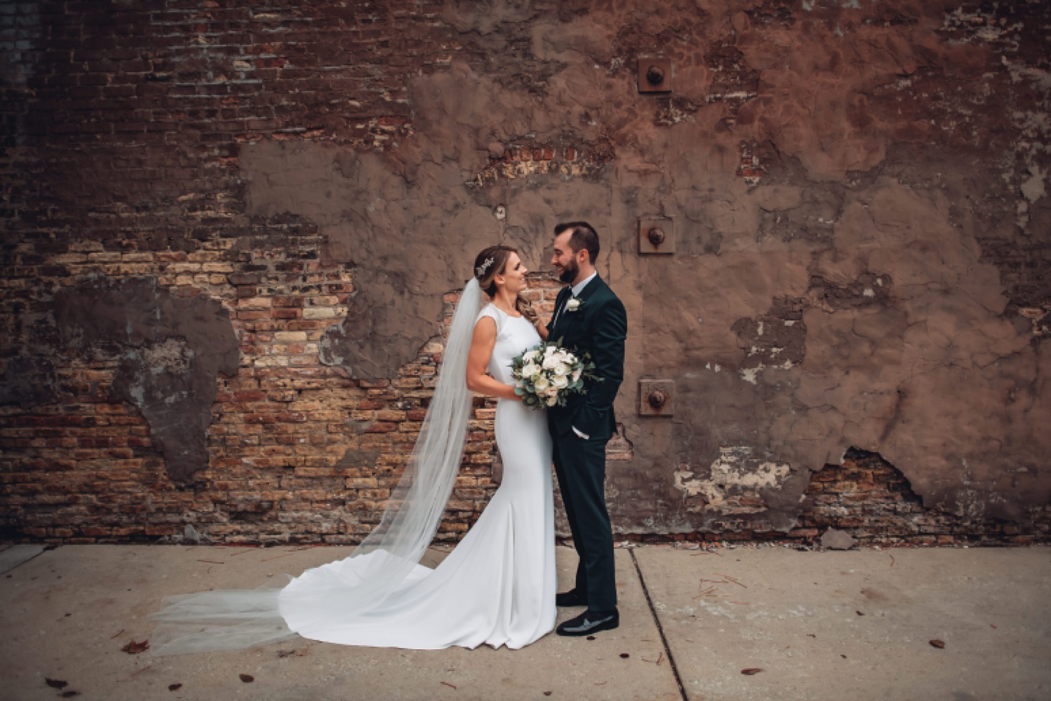 Artifact Events Fall Chicago Wedding - The Adamkovi bride and groom portraits, chicago alley