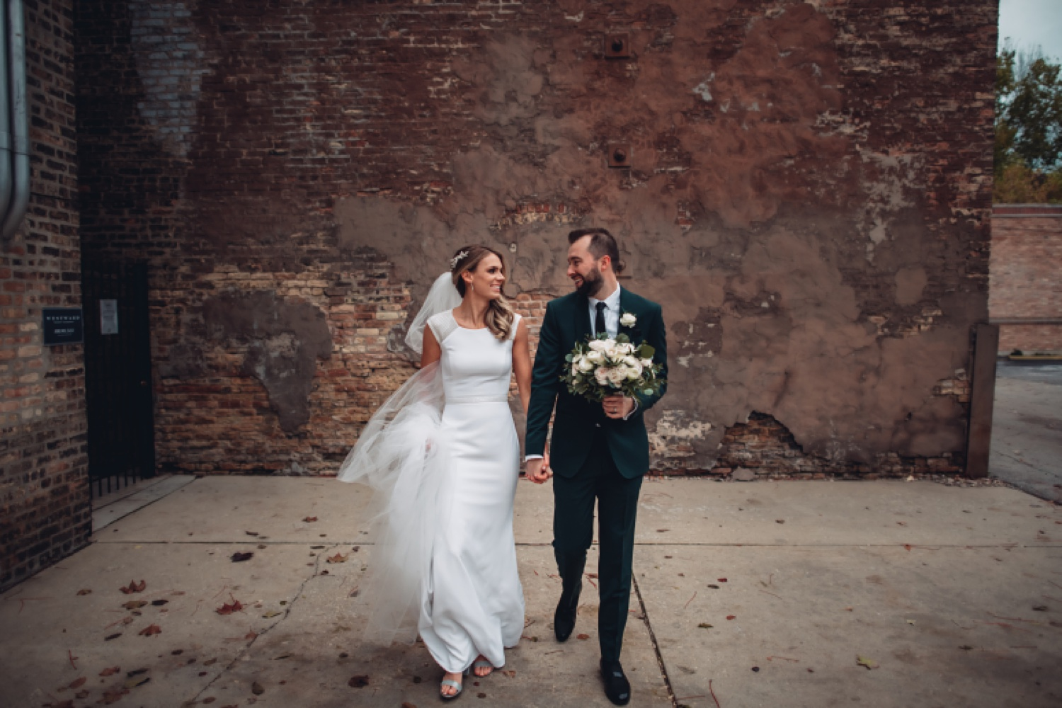 Artifact Events Chicago Wedding - The Adamkovi bride and groom portraits, chicago alley
