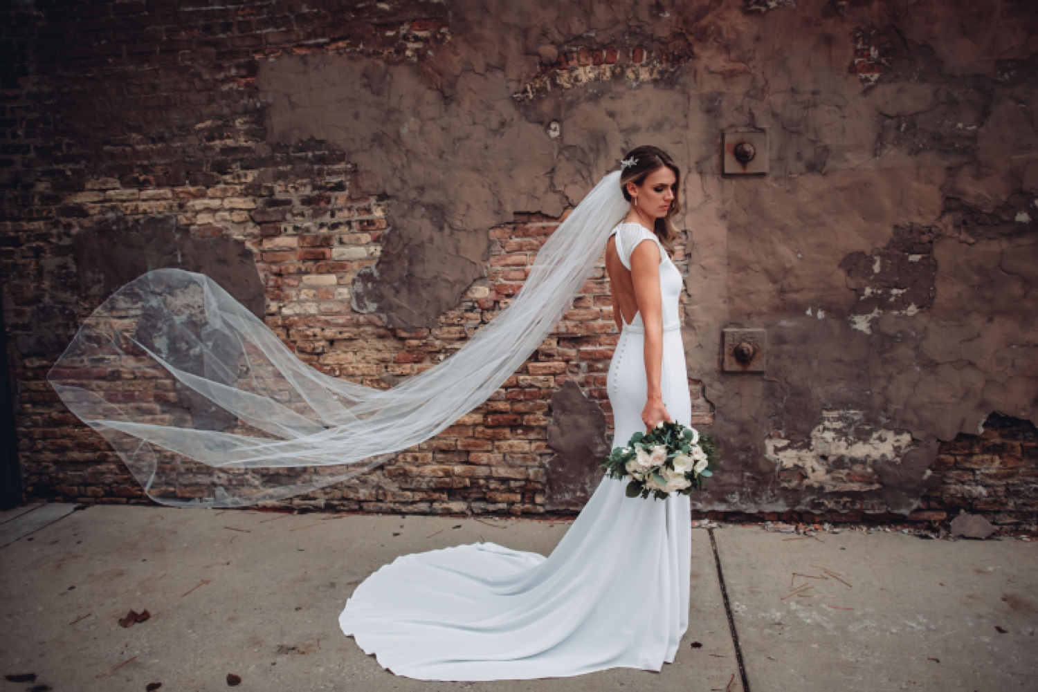 Artifact Events Fall Chicago Wedding - The Adamkovi bride and groom portraits, chicago alley, flying veil