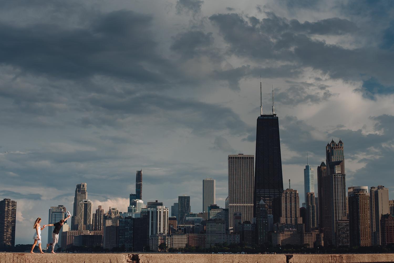 North Avenue Chicago Engagement - The Adamkovi, Chicago Skyline