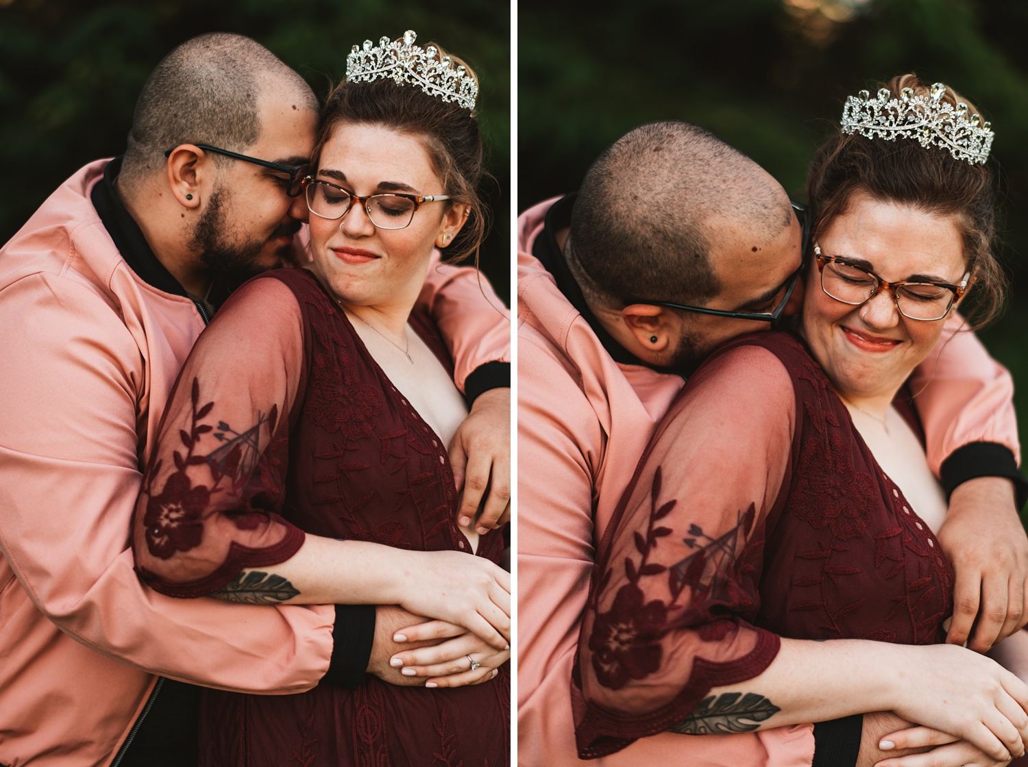 Pandemic Backyard Micro Wedding - The Adamkovi burgundy, red, bride, crown, queen