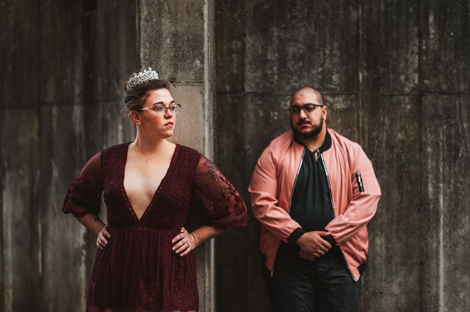 Pandemic Backyard Micro Wedding - The Adamkovi tattoo, crown, bride and groom burgundy dress chicago