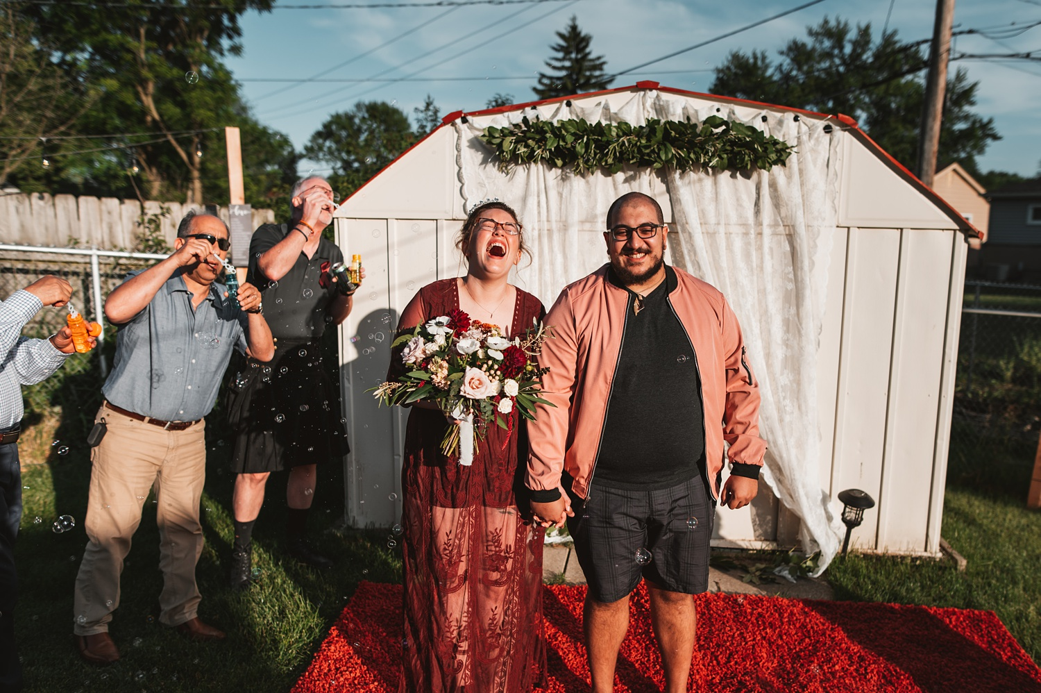 Pandemic Backyard Micro Wedding - The Adamkovi chicago ceremony