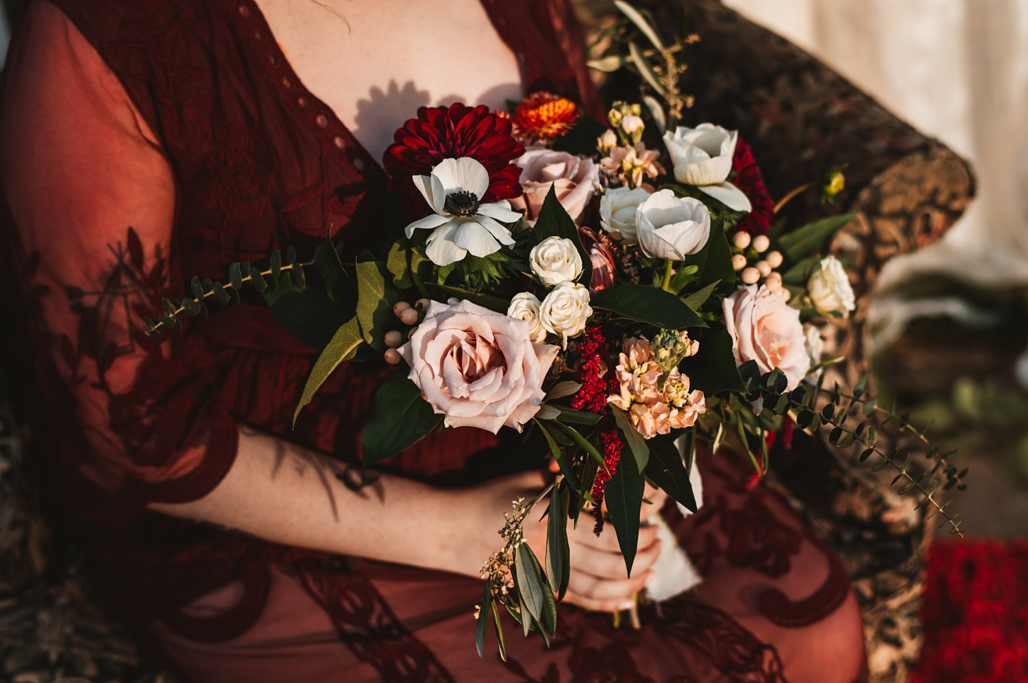 Pandemic Backyard Micro Wedding - The Adamkovi boho bride, crown, tattoos, armchair, burgundy dress bouquet