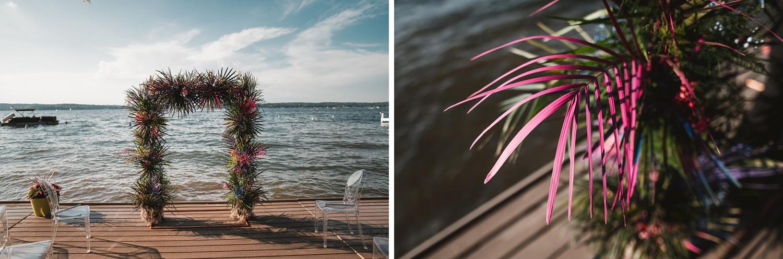 Lake Geneva Micro Wedding - The Adamkovi ceremony on deck details