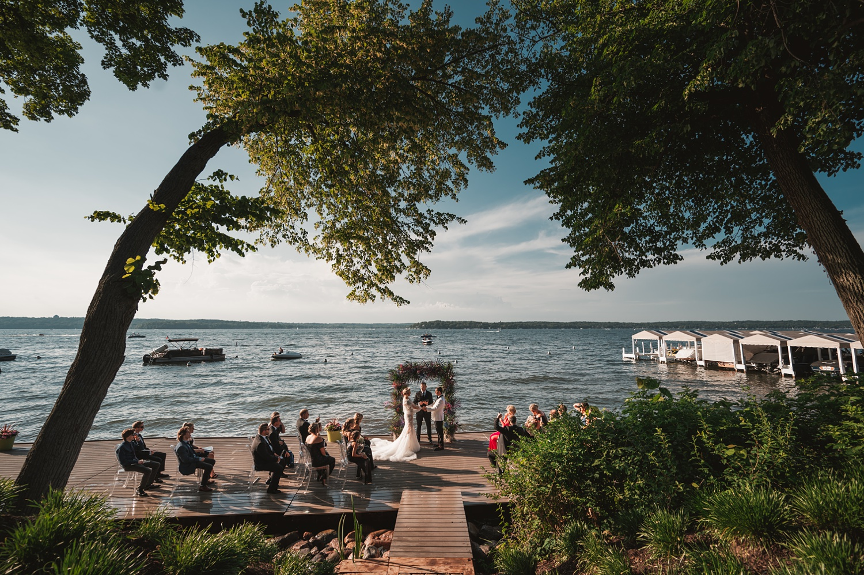 Lake Geneva Micro Wedding - The Adamkovi ceremony on deck