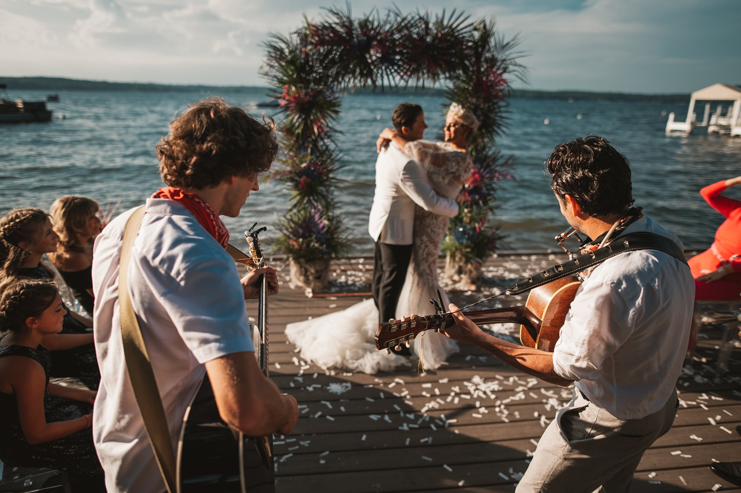 Lake Geneva Micro Wedding - The Adamkovi ceremony on deck first dance with a live guitar players band