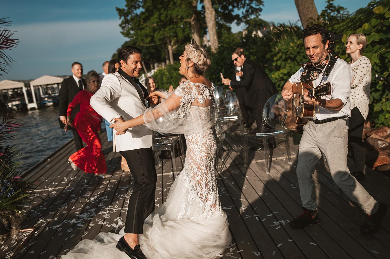Lake Geneva Micro Wedding - The Adamkovi ceremony on deck first dance