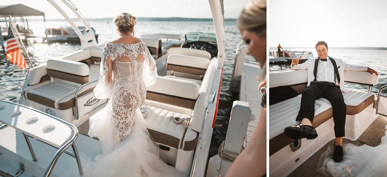 Lake Geneva Micro Wedding - The Adamkovi ceremony on deck boat