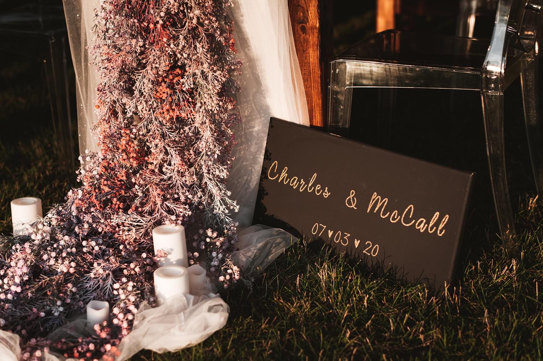 Lake Geneva Micro Wedding - The Adamkovi table set up tent reception garden, purple flowers, decoration