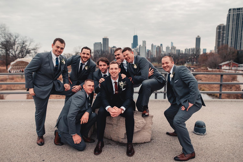 Salvatore's Chicago Wedding - The Adamkovi - bridesmaids and groomsmen in Lincoln park nature boardwalk