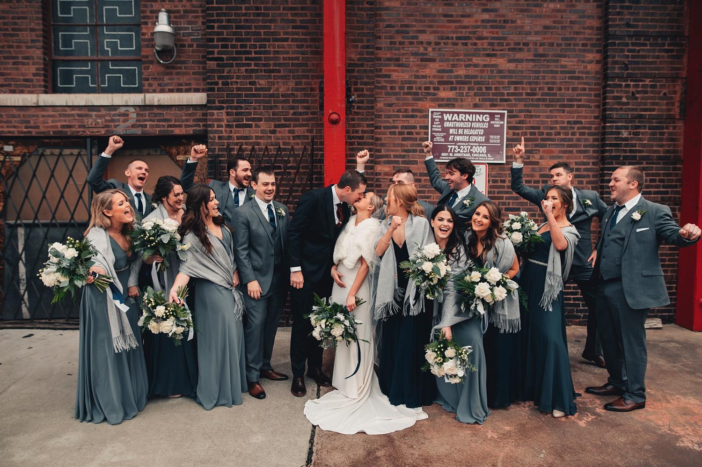 Salvatore's Chicago Wedding - The Adamkovi - bride and groom. photos on kedzie street brige