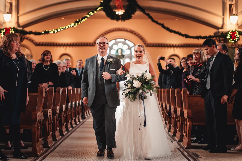 Salvatore's Chicago Wedding - St. Josaphat Catholic Church, ceremony bride walking down the isle