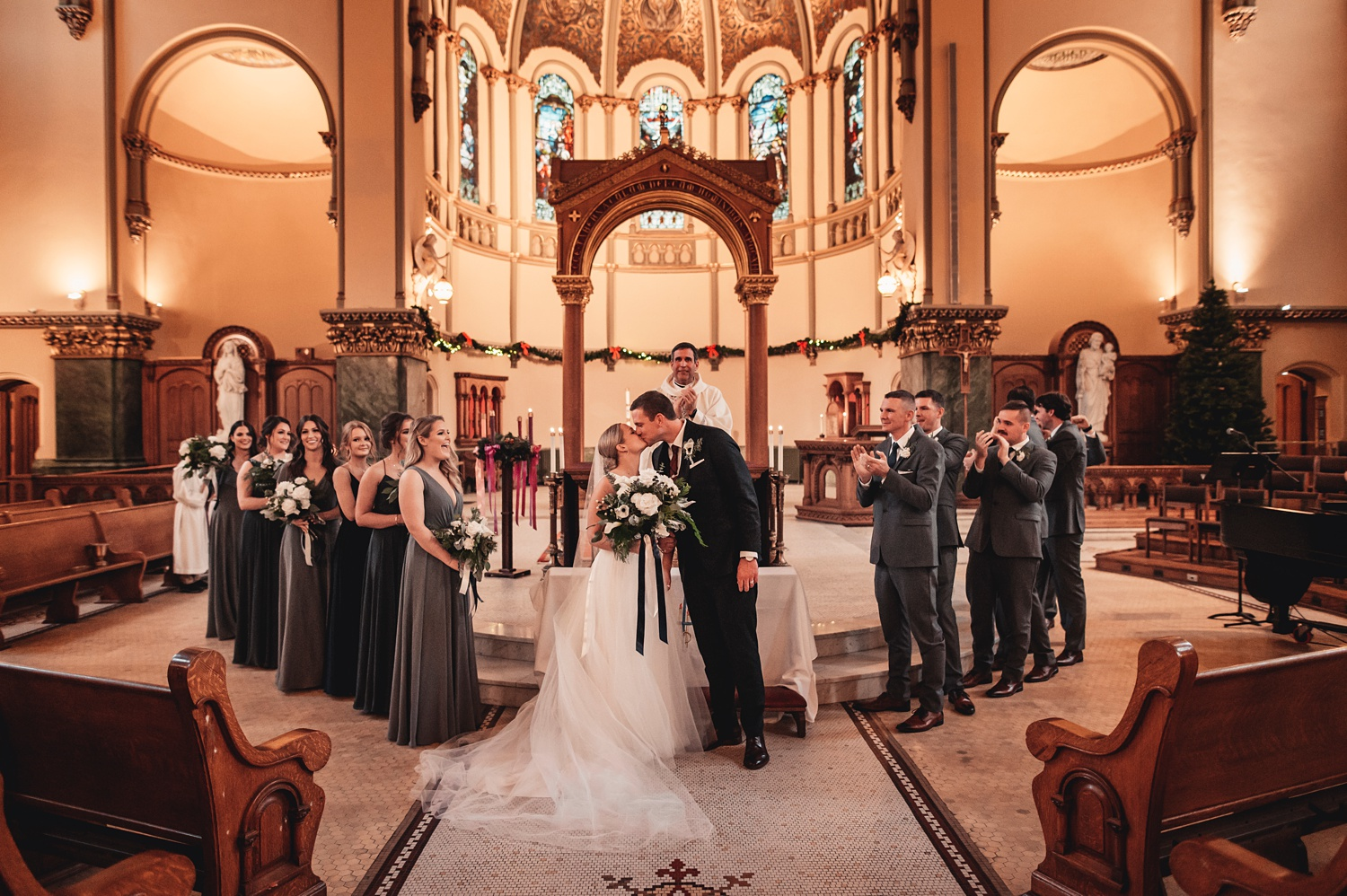 Salvatore's Chicago Wedding - St. Josaphat Catholic Church, ceremony first kiss