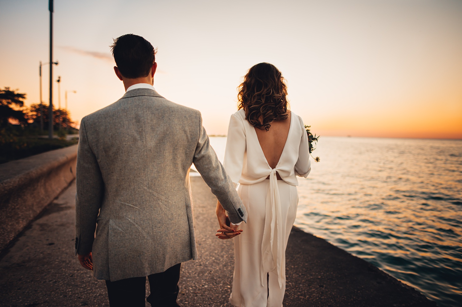 Sunrise Chicago Wedding - The Adamkovi, bride and groom creative portraits