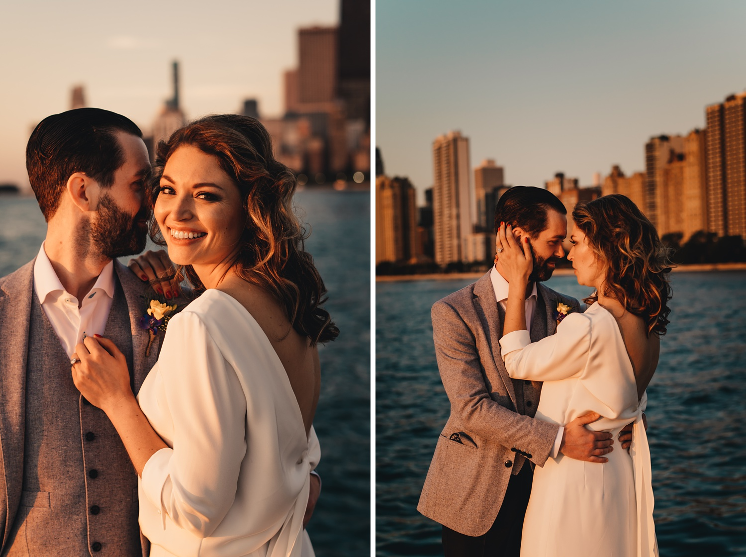Sunrise Chicago Wedding - The Adamkovi, bride and groom creative portraits, Skyline
