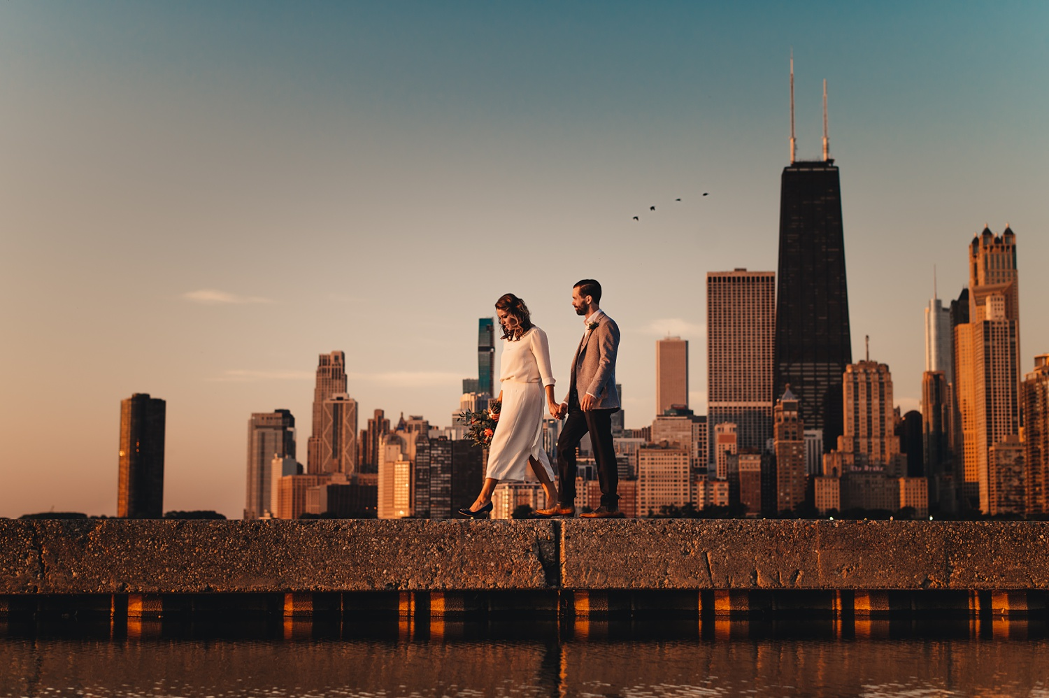 Sunrise Chicago Wedding - The Adamkovi, bride and groom creative portraits, skyline,