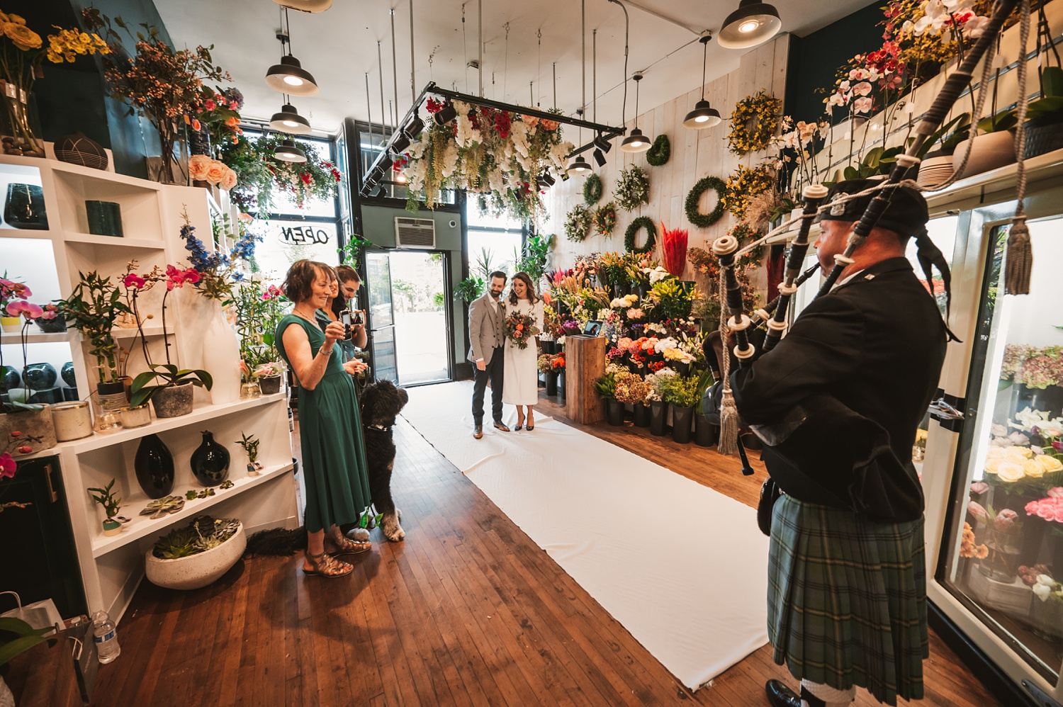 Sunrise Chicago Wedding - The Adamkovi, Steve's flower market ceremony, covid, zoom, bag piper