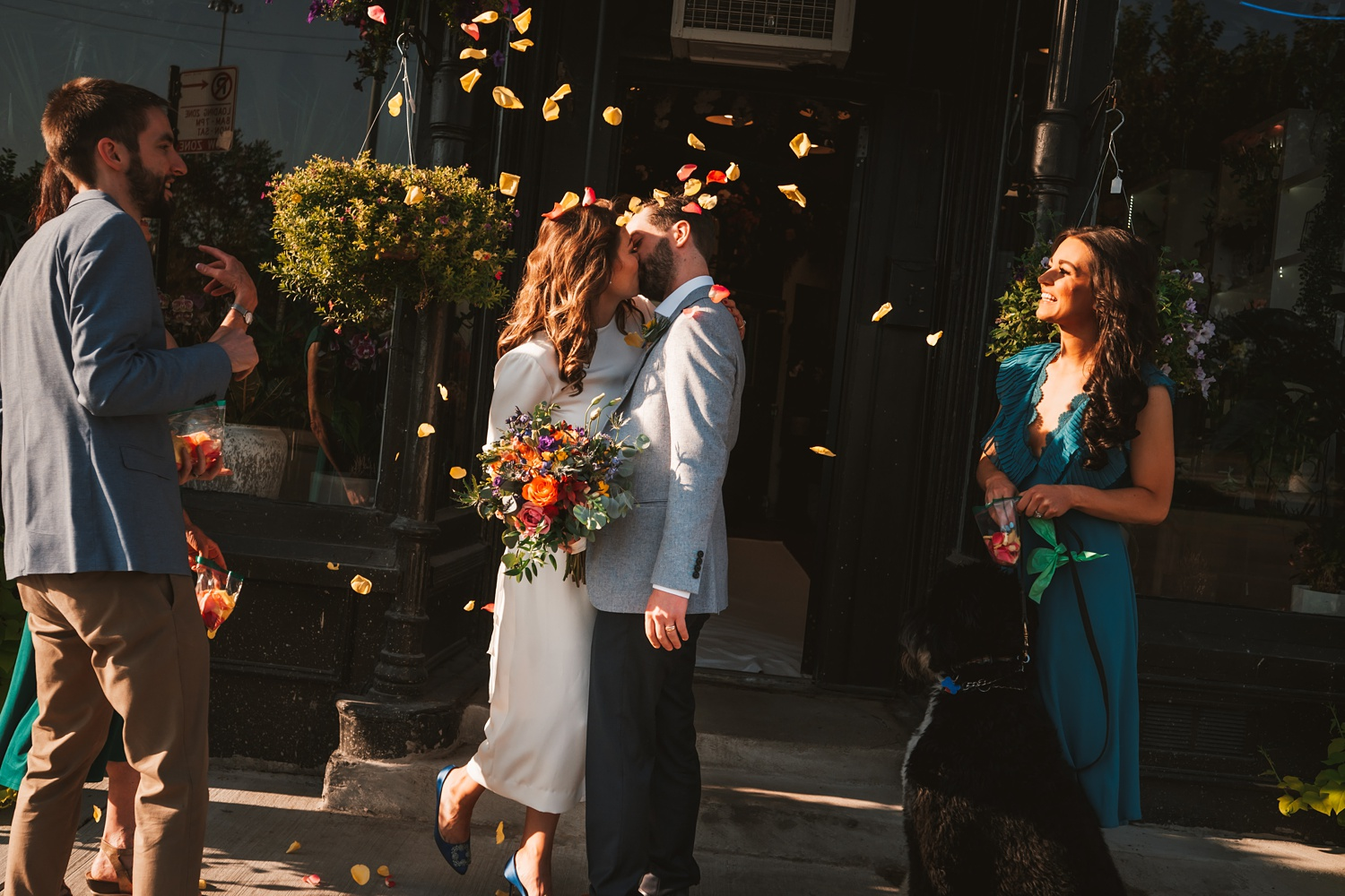 Sunrise Chicago Wedding - The Adamkovi, Steve's flower market ceremony, covid, zoom, flower petals