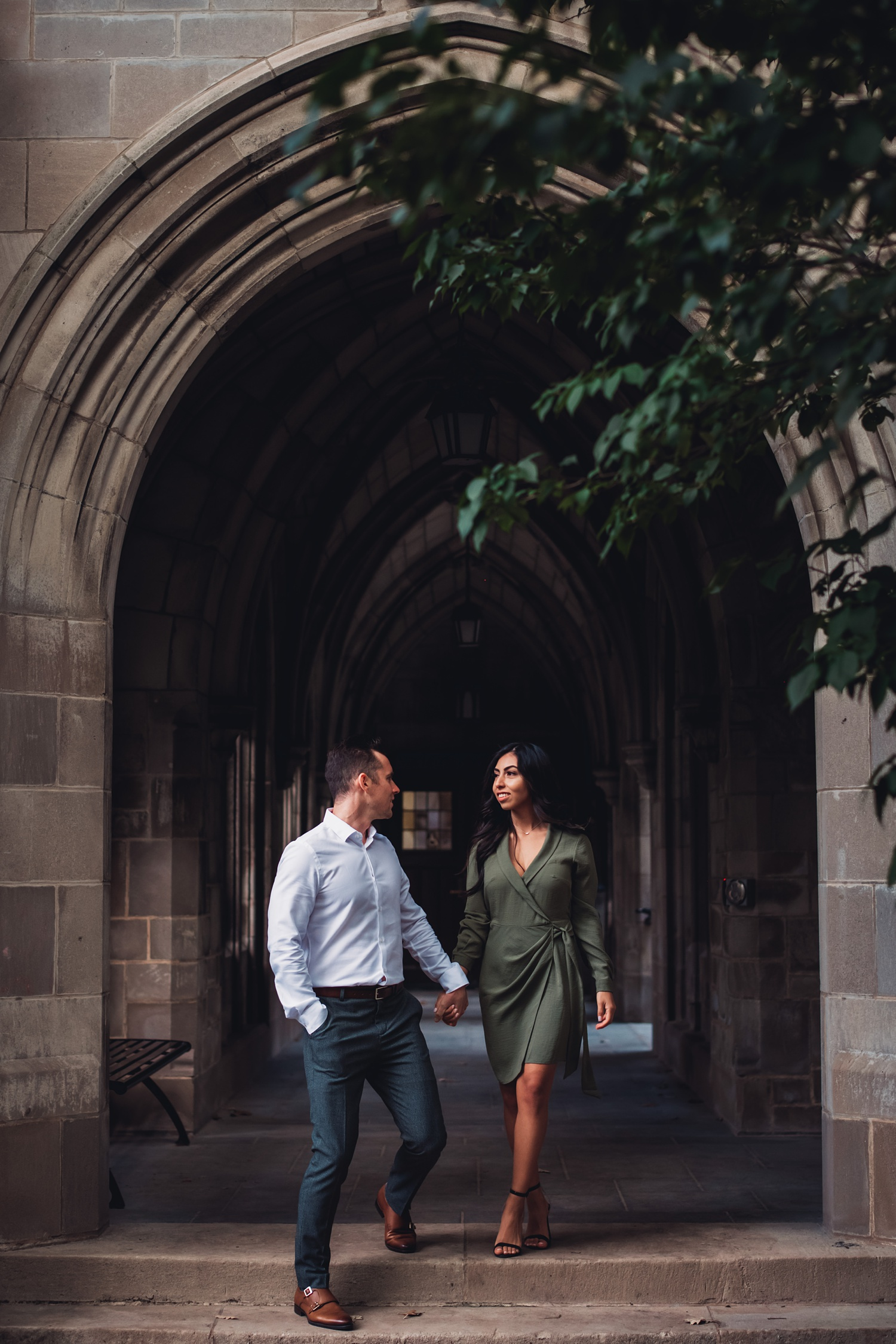 University of Chicago Engagement - The Adamkovi - gothic arches, architecture
