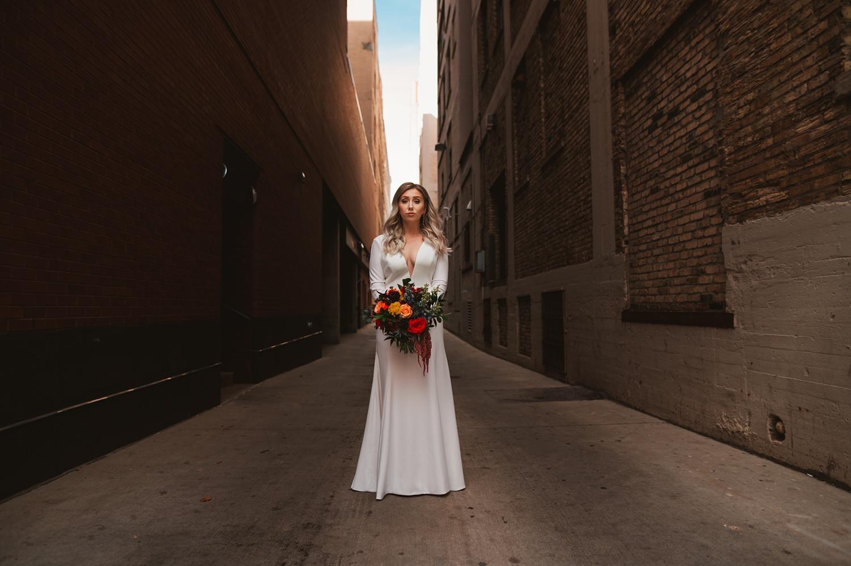 Milwaukee wedding, bride and groom portrait session, Jenny Yoo dress, Historic Third Ward
