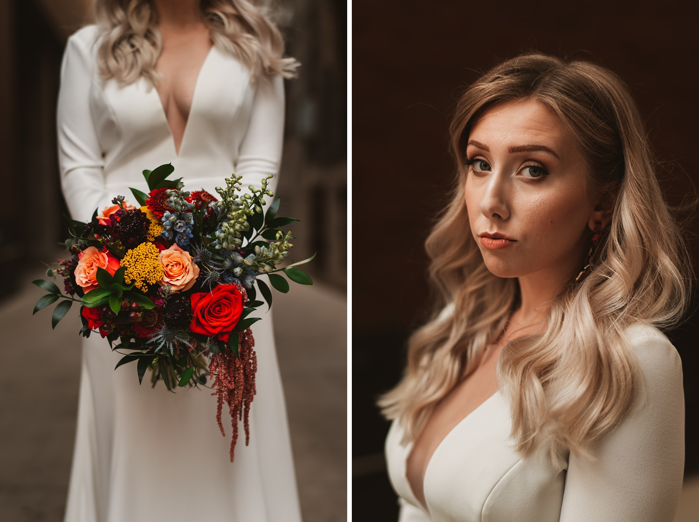 Milwaukee wedding, bride and groom portrait session, Jenny Yoo dress, Historic Third Ward, Belle Fiori