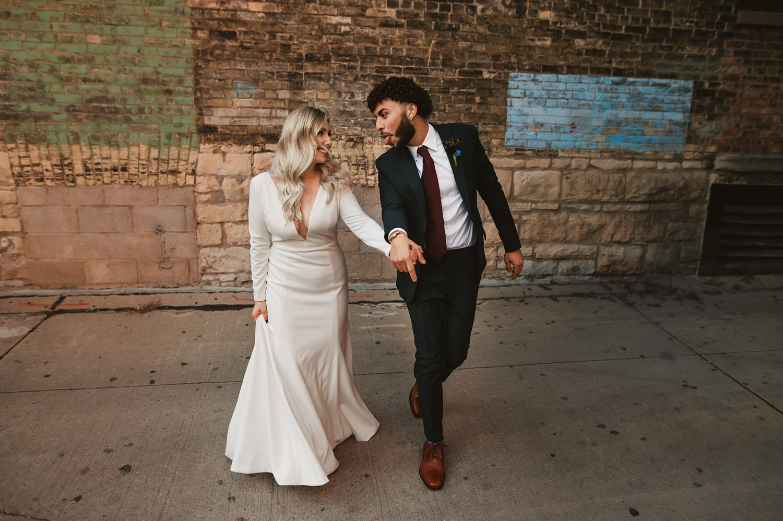 Milwaukee wedding, bride and groom portrait session, Jenny Yoo dress, Historic Third Ward, wedding photographer